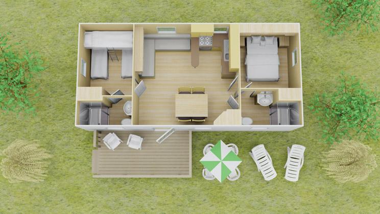 Classic plus stacaravan 2 slaapkamer 2 badkamers 7 personen - Plan ouderslaapkamer met badkamer en kleedkamer ...
