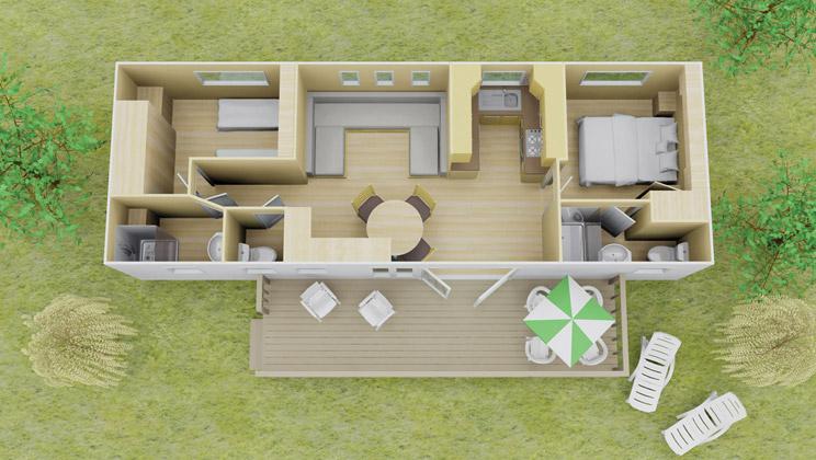 Espace stacaravan 2 slaapkamer 2 badkamers 6 personen - Plan ouderslaapkamer met badkamer en kleedkamer ...