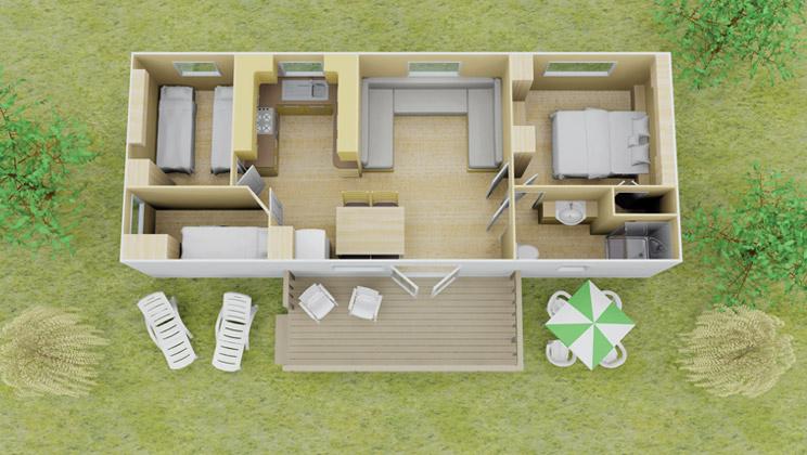Espace stacaravan 3 slaapkamer 8 personen - Ruimte lay outs ...